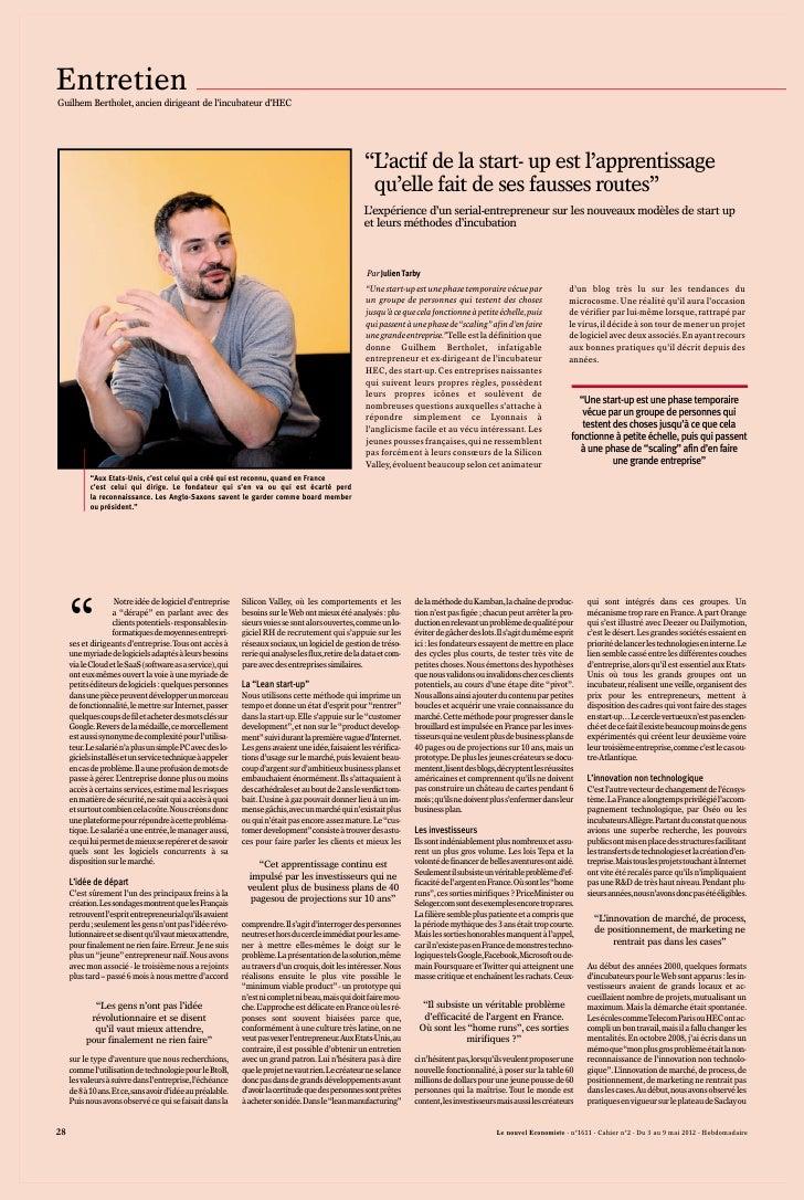 Guilhem Bertholet - Interview du 3 mai 2012 - Partie 1 - Le Nouvel Economiste