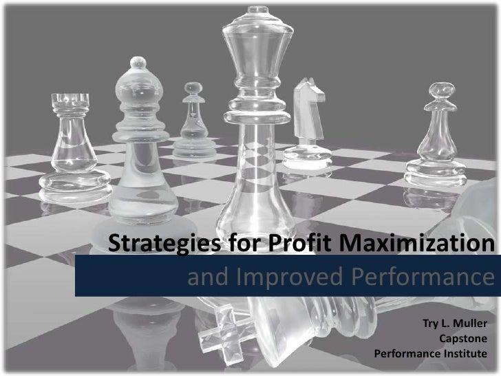 Performance Institute Profit Maximization Strategy