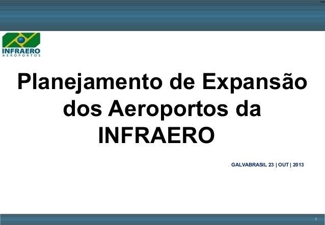 Code-  Planejamento de Expansão dos Aeroportos da INFRAERO GALVABRASIL 23 | OUT | 2013  1