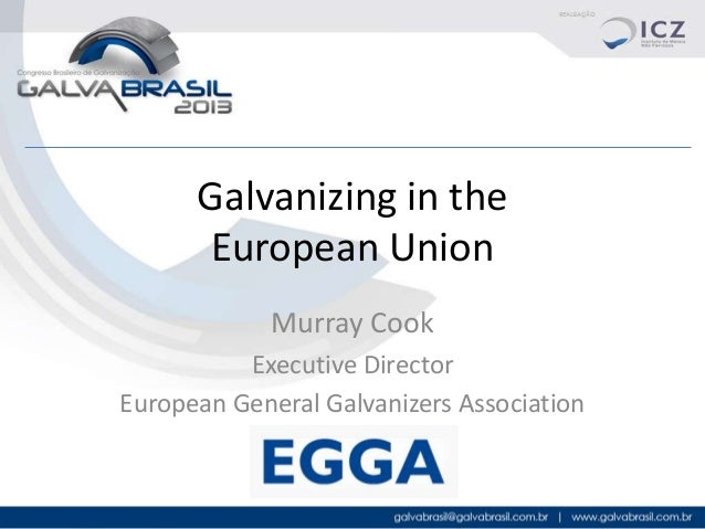 Galvanizing in the European Union Murray Cook Executive Director European General Galvanizers Association