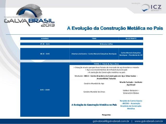 A Evolução da Construção Metálica no País HORÁRIO 07:30 – 8:15  08:15 – 8:45  TEMA  PALESTRANTE Welcome Coffee  Abertura d...