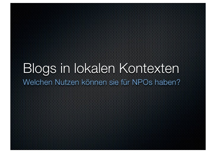 Blogs in lokalen Kontexten