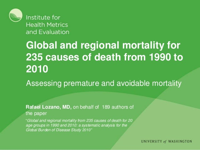 Global and regional mortality for235 causes of death from 1990 to2010Assessing premature and avoidable mortalityRafael Loz...