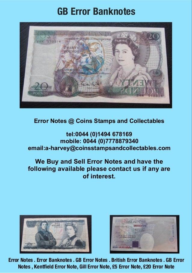 British Error Notes - GB Error Notes