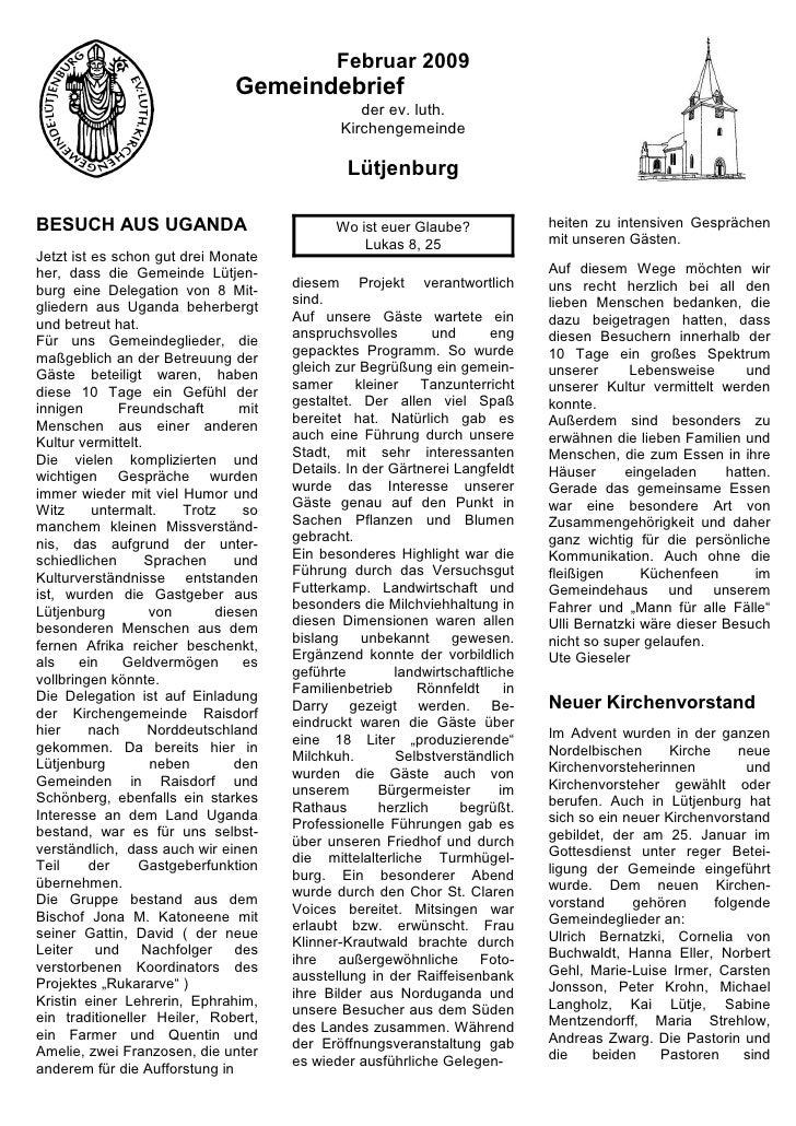 Februar 2009                                 Gemeindebrief                                                   der ev. luth....