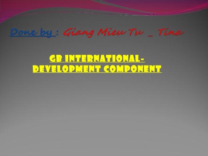 GB INTERNATIONAL-DEVELOPMENT COMPONENT