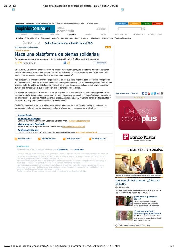 21/06/12                                        Nace una plataforma de ofertas solidarias - La Opinión A Coruña         Id...