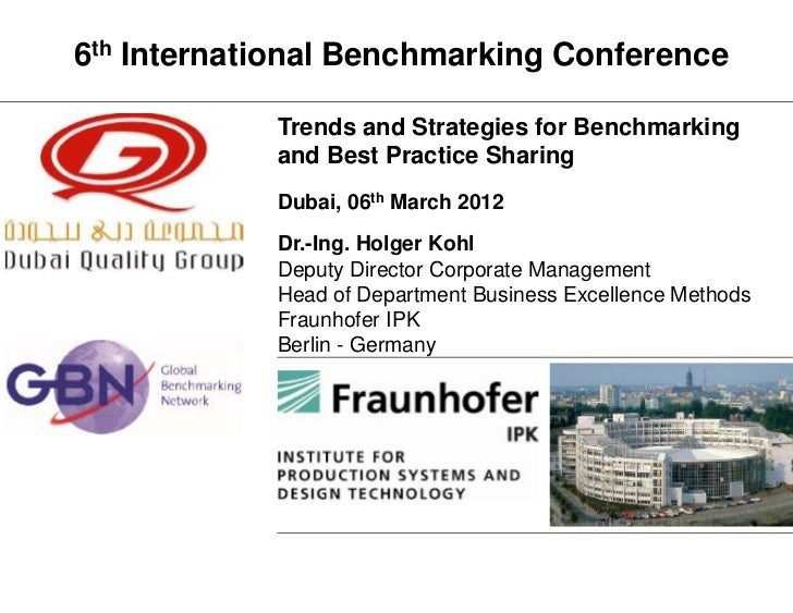 """""""Trends and Strategies for Benchmarking and Best Practice Sharing"""" by Dr. Holger Kohl"""