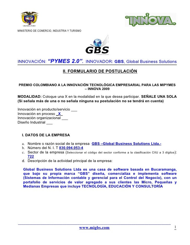 "MINISTERIO DE COMERCIO, INDUSTRIA Y TURISMOINNOVACIÓN: ""PYMES                  2.0"".     INNOVADOR: GBS, Global Business S..."