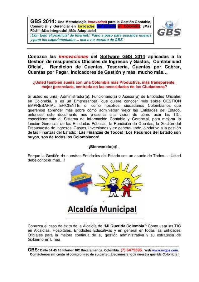 GBS 2014: Una Metodología Innovadora para la Gestión Contable, Comercial y Gerencial en Entidades del Estado en Colombia: ...