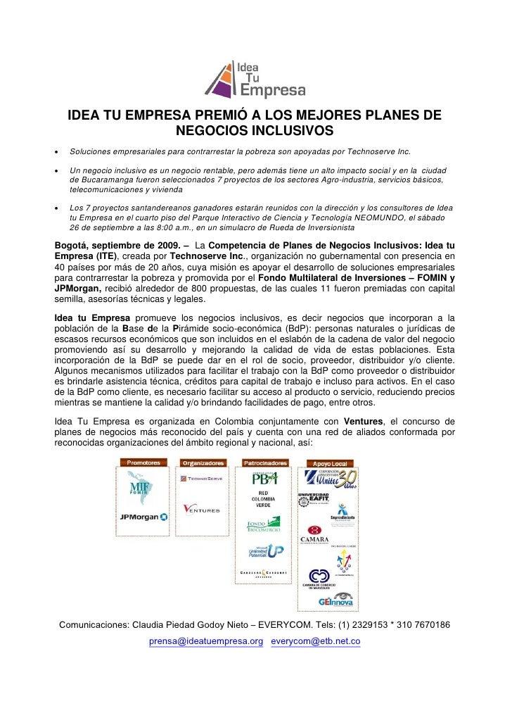 IDEA TU EMPRESA PREMIÓ A LOS MEJORES PLANES DE                  NEGOCIOS INCLUSIVOS•     Soluciones empresariales pa...