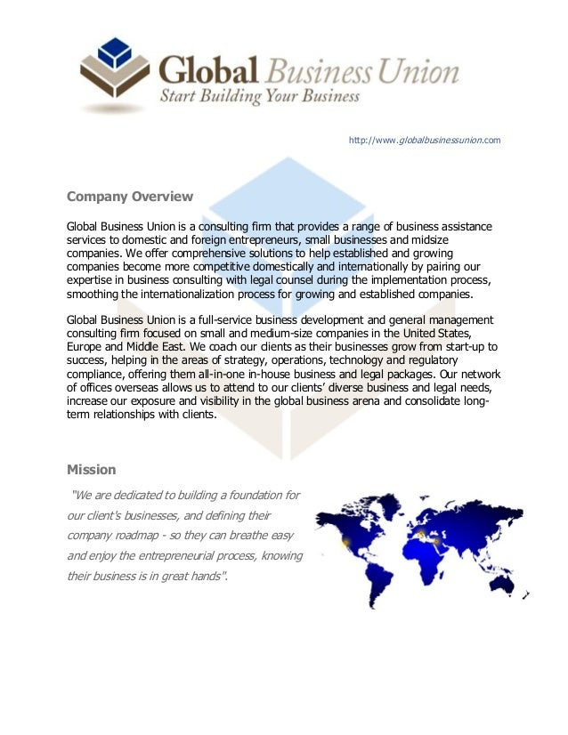 http://www.globalbusinessunion.com Company Overview Global Business Union is a consulting firm that provides a range of bu...