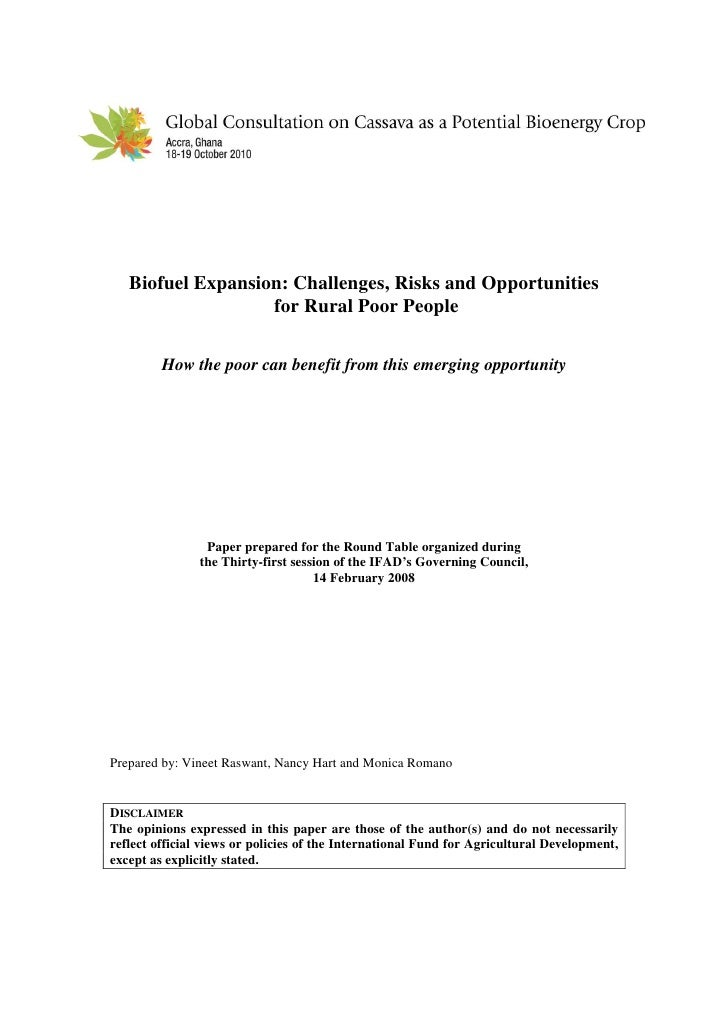 Biofuel Expansion: Challenges, Risks and Opportunities                    for Rural Poor People           How the poor can...