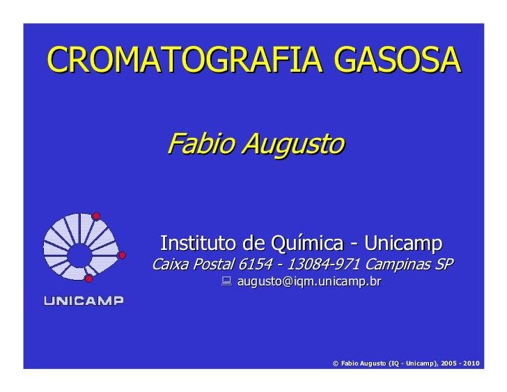 CROMATOGRAFIA GASOSA      Fabio Augusto      Instituto de Química - Unicamp     Caixa Postal 6154 - 13084-971 Campinas SP ...