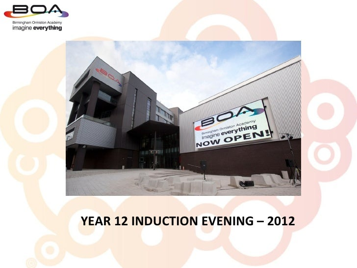 YEAR 12 INDUCTION EVENING – 2012