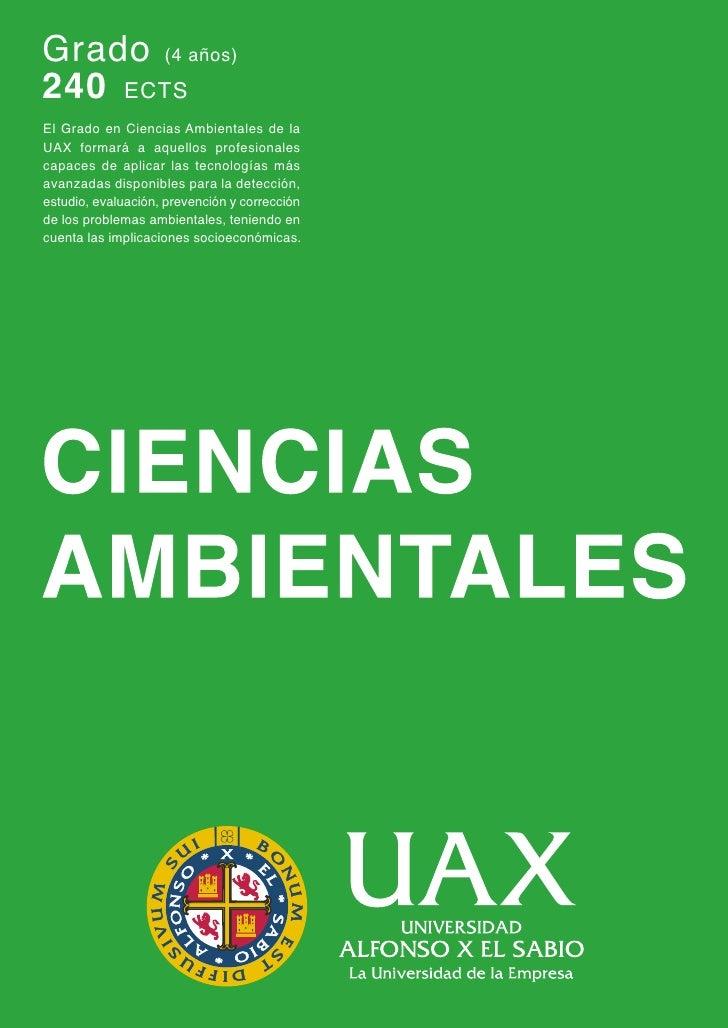 Grado en Ciencias Ambientales Universidad Alfonso X el Sabio