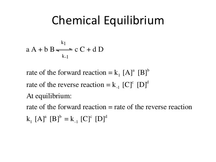 Chemical Equilibrium            k1aA+bB              cC+dD             k-1rate of the forward reaction = k1 [A]a [B]brate ...