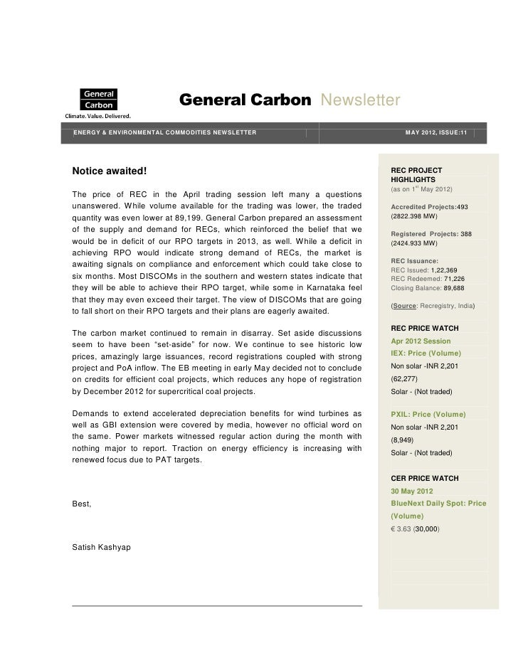 General Carbon NewsletterENERGY & ENVIRONMENTAL COMMODITIES NEWSLETTER                                        MAY 2012, IS...