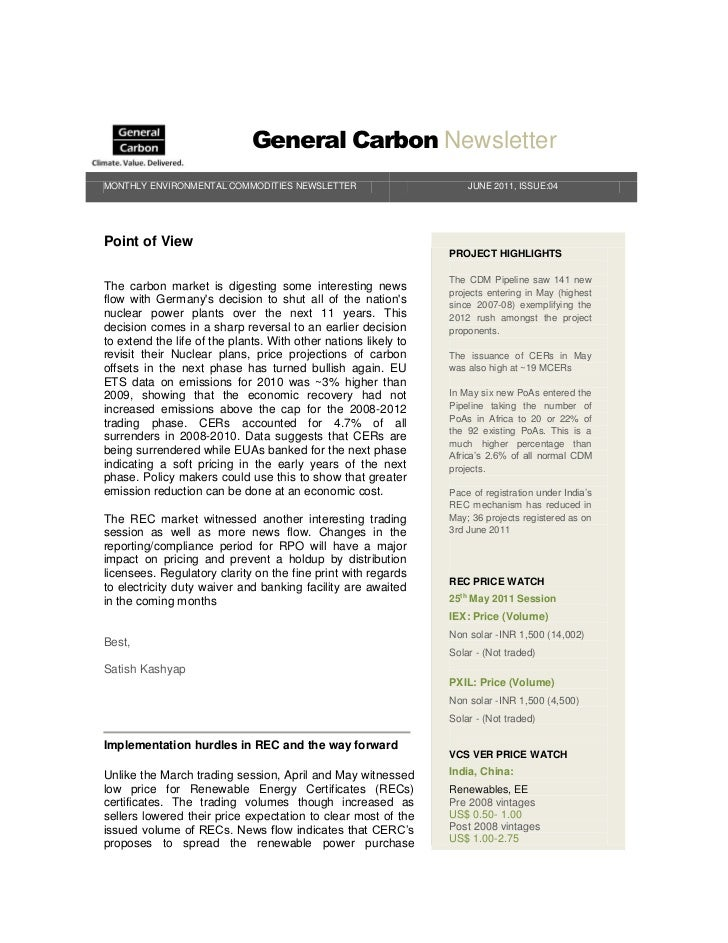General Carbon NewsletterMONTHLY ENVIRONMENTAL COMMODITIES NEWSLETTER                         JUNE 2011, ISSUE:04Point of ...