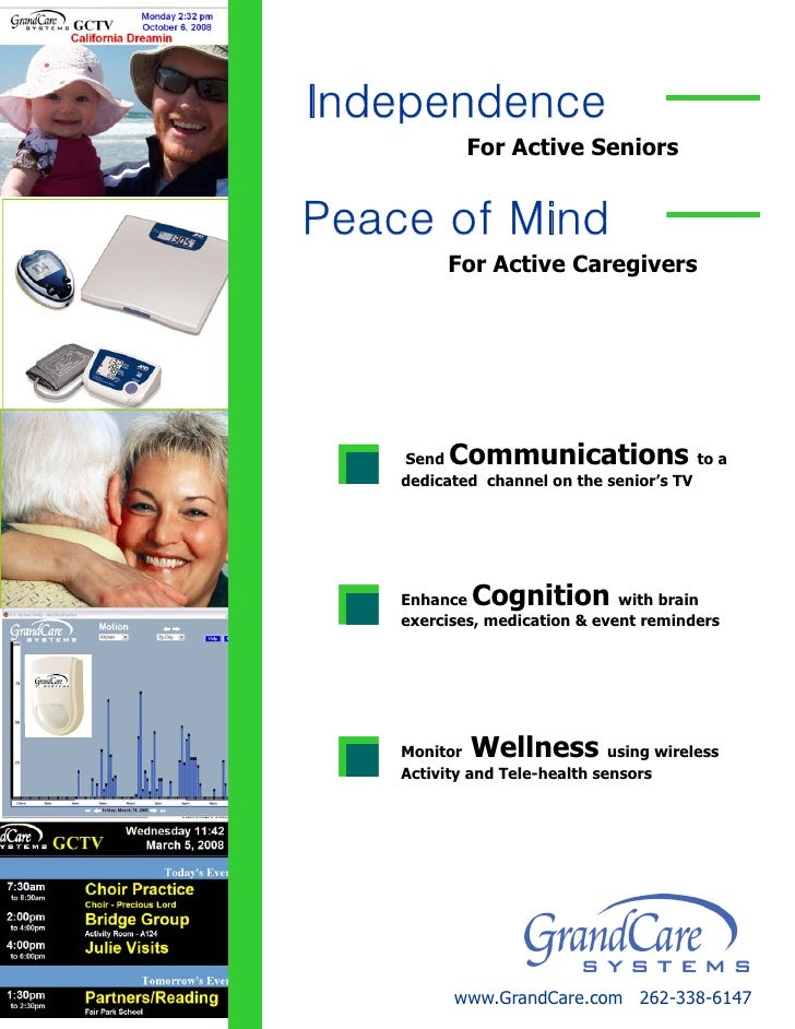 Independence             For Active Seniors   Peace of Mind           For Active Caregivers         Send  Communications  ...