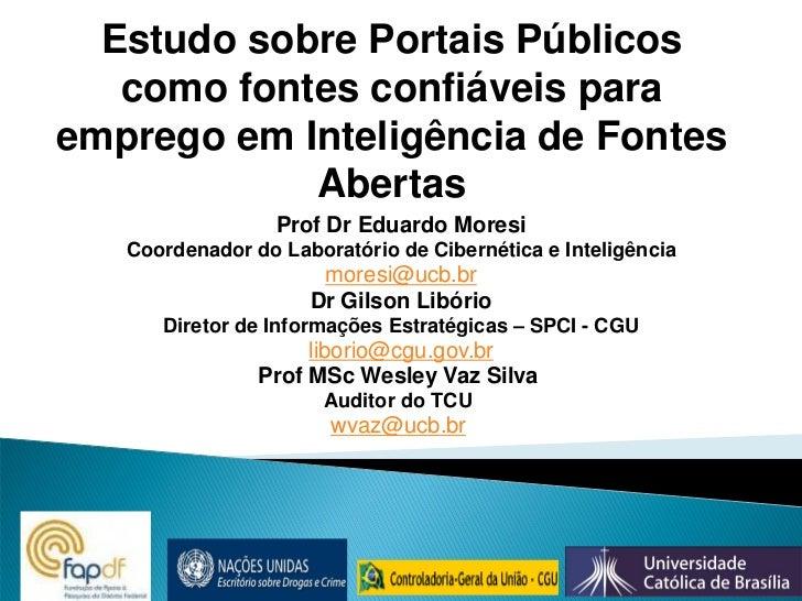 Estudo sobre Portais Públicos como fontes confiáveis para emprego em Inteligência de Fontes Abertas