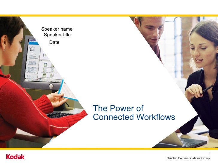 The Power of  Connected Workflows  Speaker name Speaker title Date
