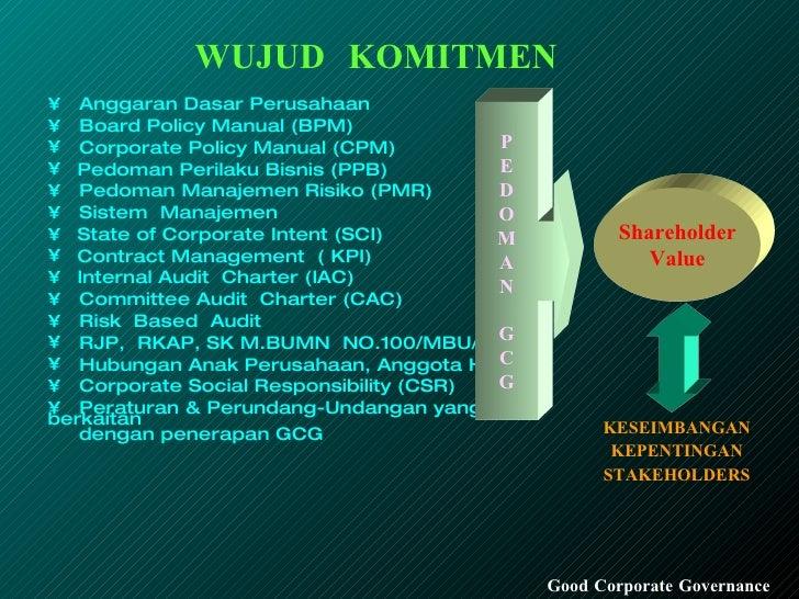 WUJUD  KOMITMEN Good Corporate Governance <ul><li>Anggaran Dasar Perusahaan </li></ul><ul><li>Board Policy Manual (BPM) </...