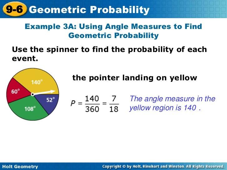 Geometric Probability Examples 9-6 Geometric Probability
