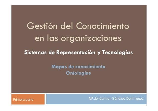 Gestión del Conocimiento         en las organizaciones       Sistemas de Representación y Tecnologías                 Mapa...