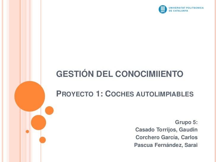 GESTIÓN DEL CONOCIMIIENTOPROYECTO 1: COCHES AUTOLIMPIABLES                                 Grupo 5:                  Casad...
