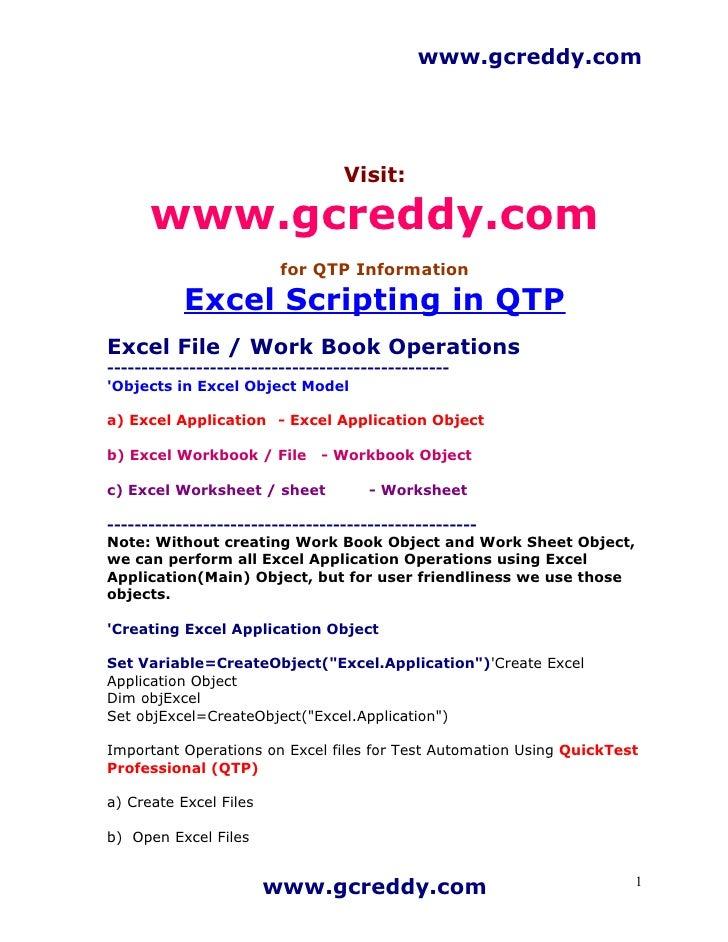 Excel Scripting