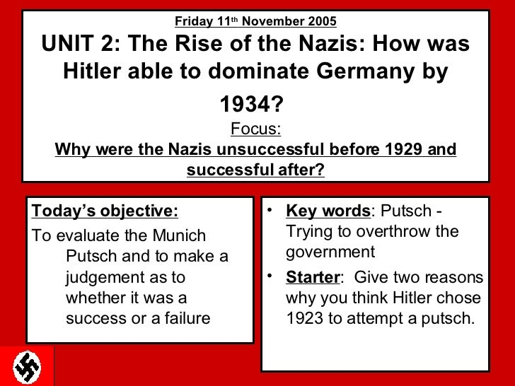 Friday 11 th  November 2005 UNIT 2: The Rise of the Nazis: How was Hitler able to dominate Germany by 1934?   Focus: Why w...