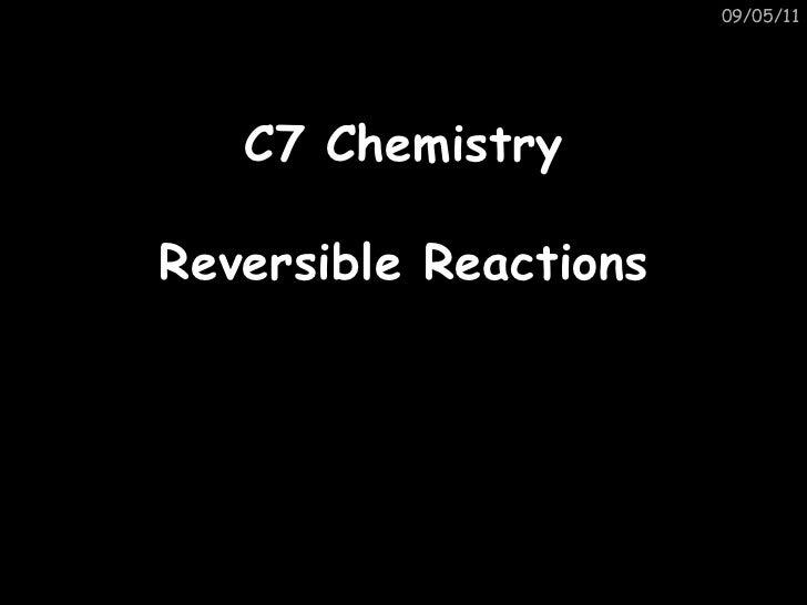 Gcse c7 reversible reactions