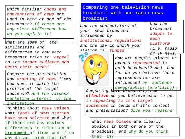 Which familiar codes and        Comparing one television newsconventions of news are         broadcast with one radio news...