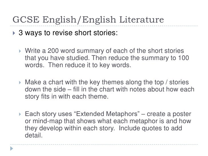 Writing a short story for gcse english coursework?