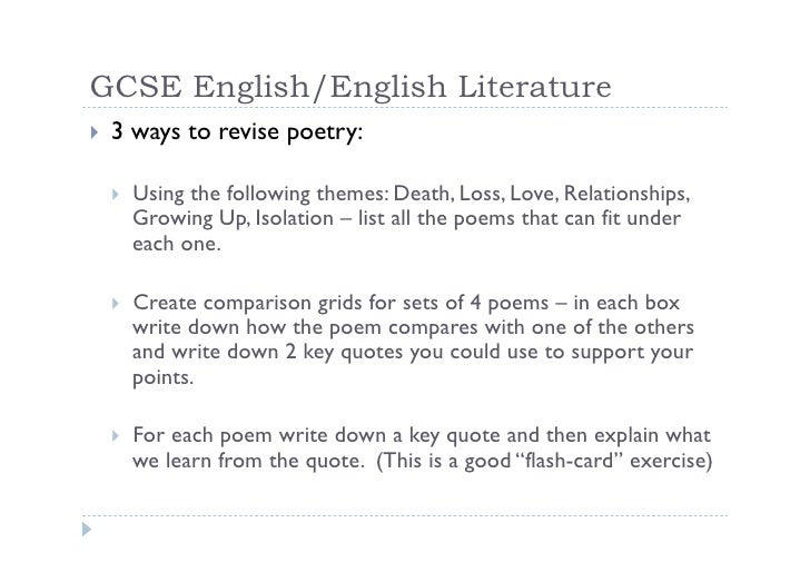 gcse english literature poem essays Gcse home page      revision gcse english literature single poem and comparison essay (one poem published for the single essay and the title and author.