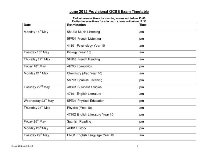 June 2012 Provisional GCSE Exam Timetable                                   Earliest release times for morning exams not b...