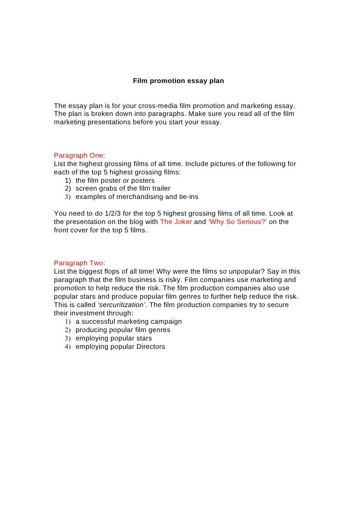 gcse film promotion essay plan