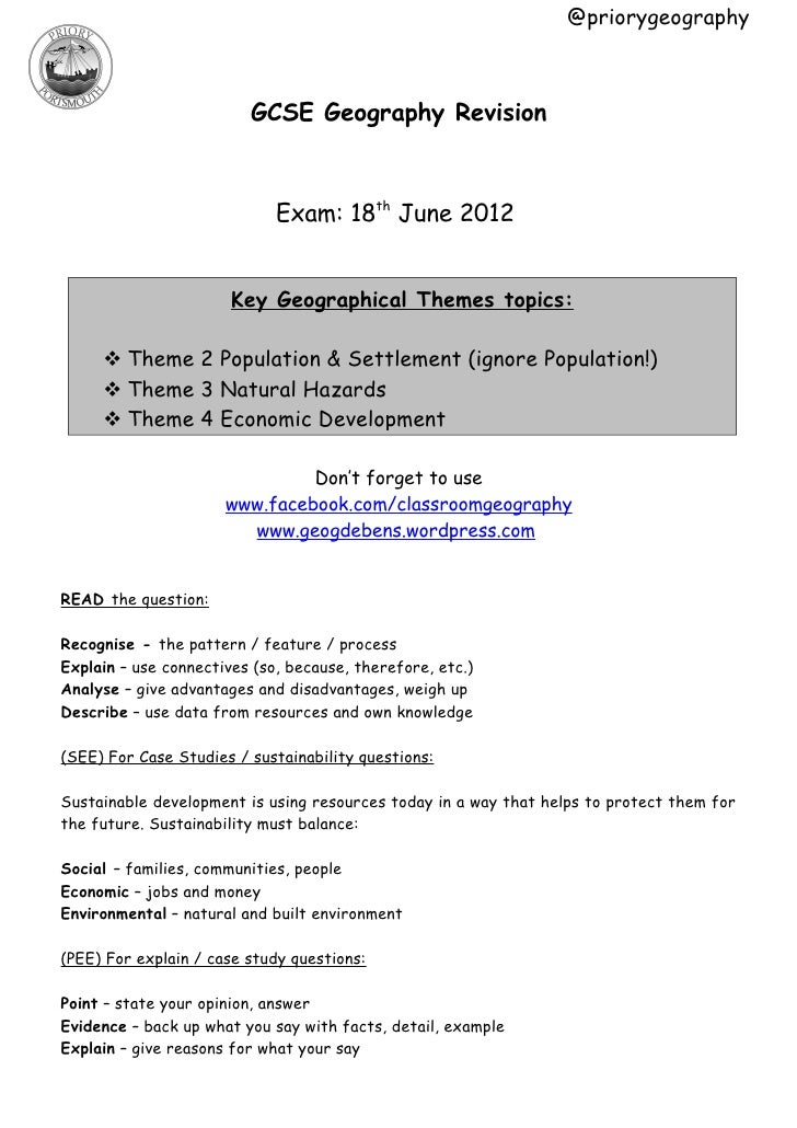 @priorygeography                         GCSE Geography Revision                             Exam: 18th June 2012         ...