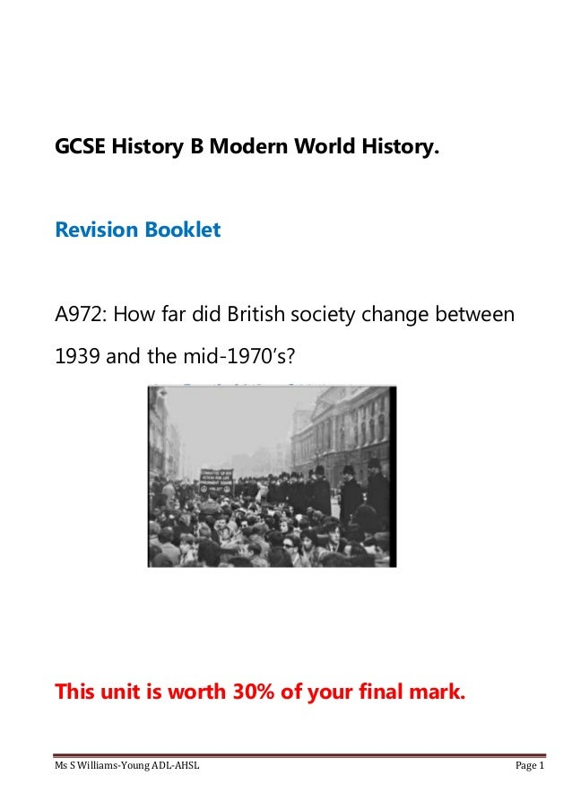 GCSE OCR History - British Depth Study?