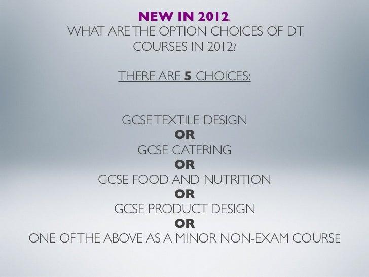 GCSE DT SIS Options Slideshow 2012
