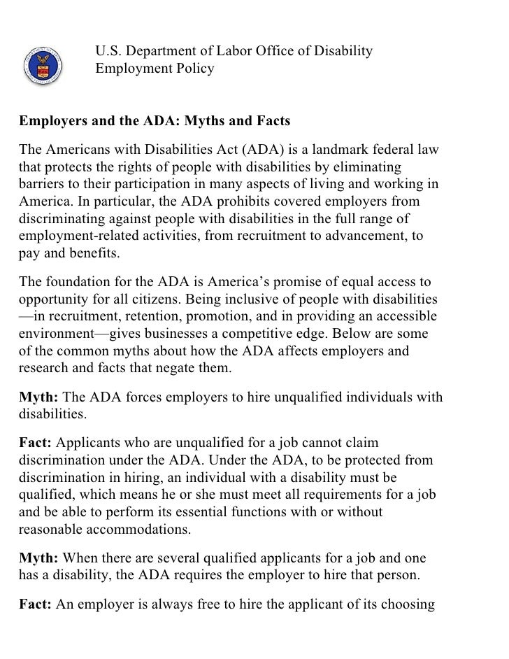 Gcsv2011 inclusion and national service-doj employers and the ada- myths and facts