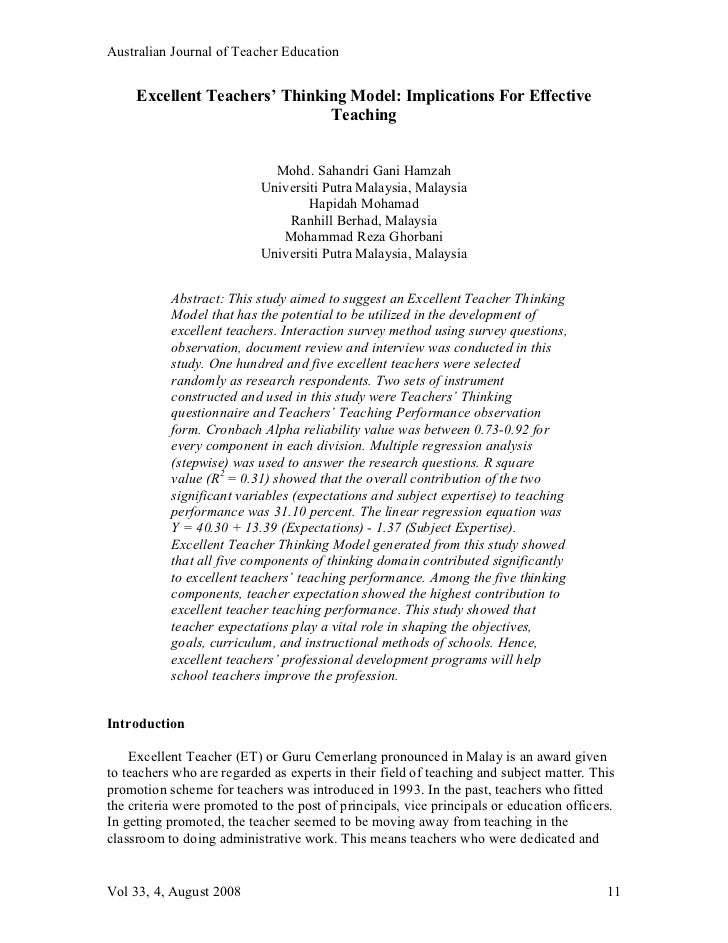 Australian Journal of Teacher Education     Excellent Teachers' Thinking Model: Implications For Effective                ...