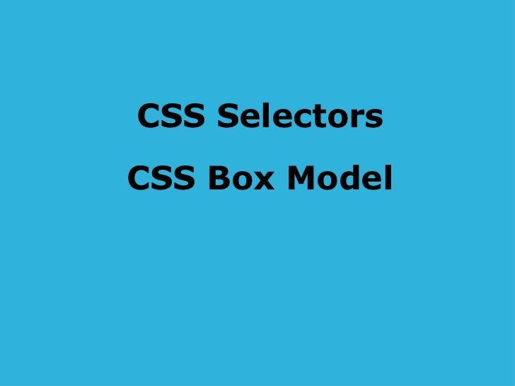 CSS Selectors CSS Box Model