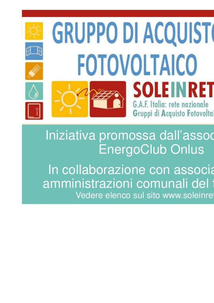 """""""Sole in rete"""", Gruppo di Acquisto Fotovoltaico"""