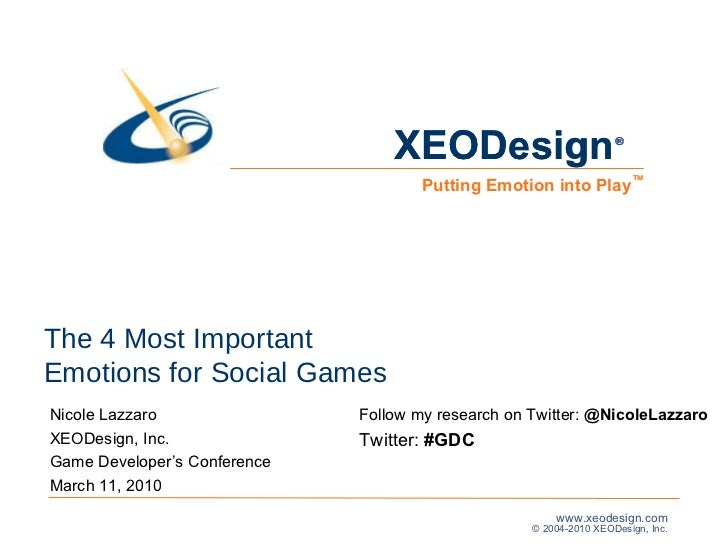 The 4 Most Important  Emotions for Social Games  Nicole Lazzaro XEODesign, Inc. Game Developer's Conference  March 11, 201...