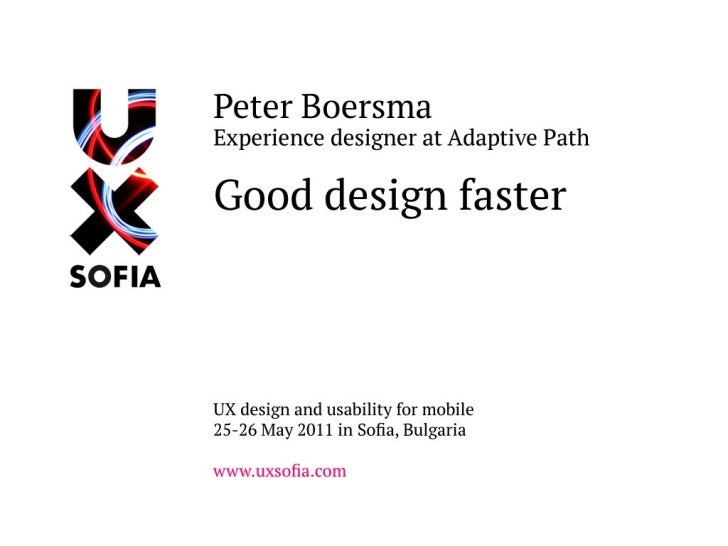Good Design Faster at UX Sofia