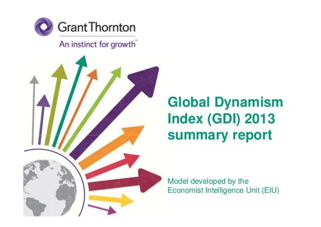 Global Dynamism Index (GDI) 2013 summary report Model developed by the Economist Intelligence Unit (EIU)