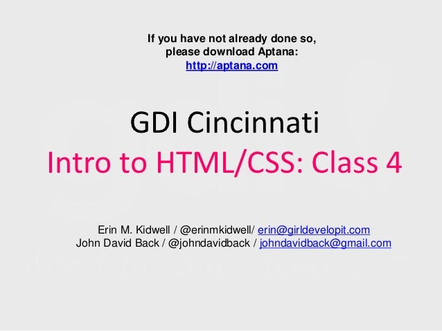 Girl Develop It Cincinnati: Intro to HTML/CSS Class 4
