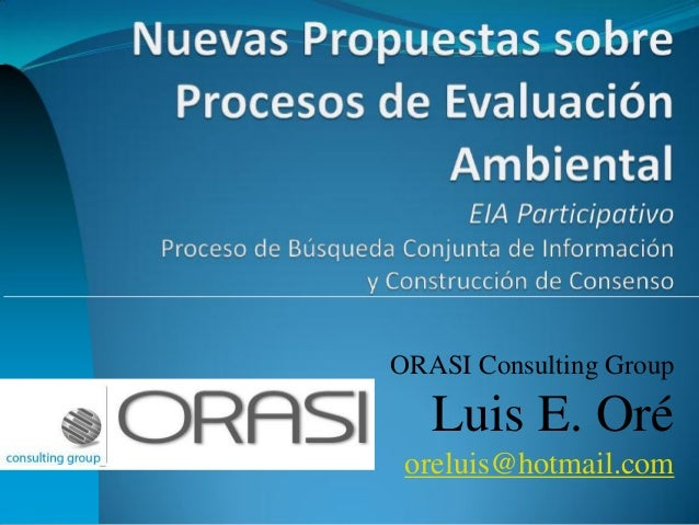 ORASI Consulting Group  Luis E. Oré  oreluis@hotmail.com